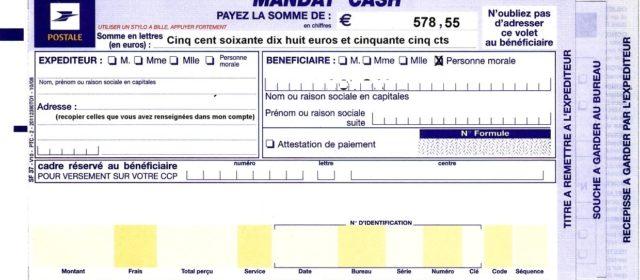 mandat cash de La Poste