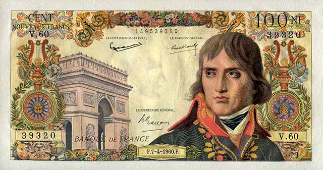 Billet de banque émit en l'honneur du fondateur de la Banque de France, Napoléon Bonaparte
