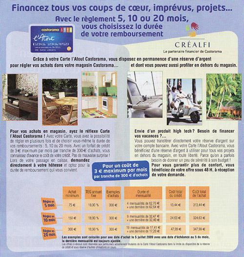 Publicité pour la carte Castorama