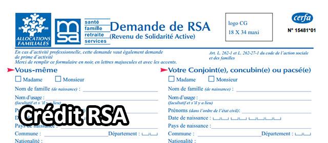 Détail du formulaire de demande du RSA