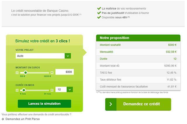 Simulation de crédit renouvelable Banque Casino