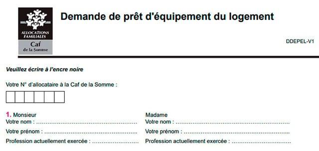 formulaire de demande de prêt d'équipement du logement de la Somme