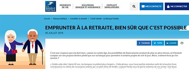 Page de la Banque Postale dédiée aux retraités