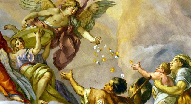 Ange donnant des pièces d'or et d'argent à des pélerins.